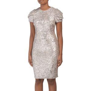 Adrianna Papell Silver Sequin Puff Sheath